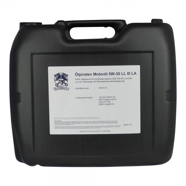 Ölpiraten Motoröl 5W-30 LL III LA - 20 Liter